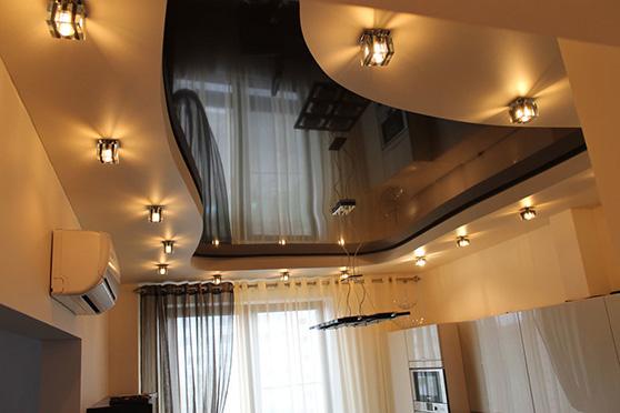 Заказать двухуровневые натяжные потолки