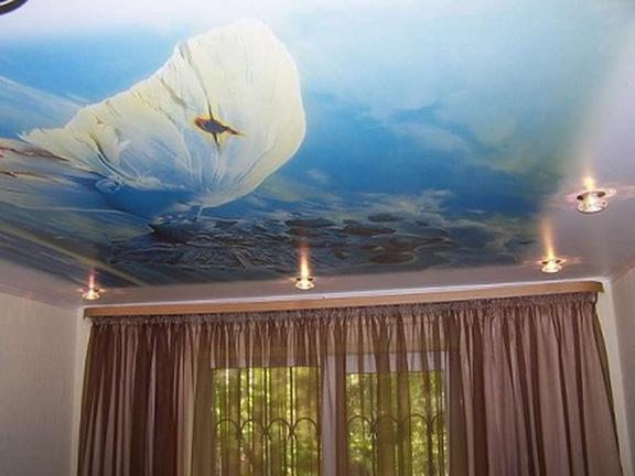 фотопечать на натяжных потолках, художественная роспись потолков